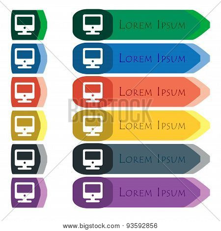 Monitor Icon Sign. Set Of Colorful, Bright Long Buttons With Additional Small Modules. Flat Design