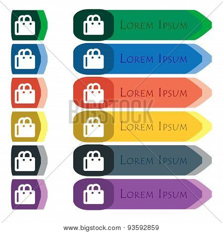 Shopping Bag Icon Sign. Set Of Colorful, Bright Long Buttons With Additional Small Modules. Flat Des