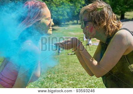 Blowing Cyan Holi