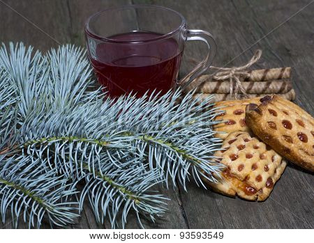 Coniferous Branch, Tea And Cookies