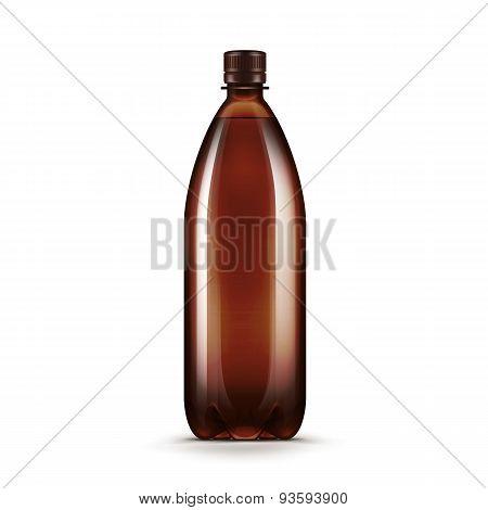 Vector Blank Brown Plastic Water Beer Kvass Bottle