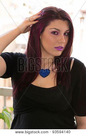 Purple Hair Caucasian Girl