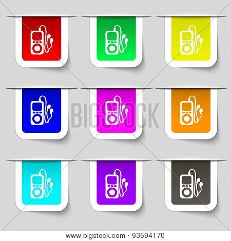 Mp3 Player, Headphones, Music Icon Sign. Set Of Multicolored Modern Labels For Your Design. Vector