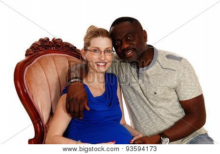 Happy Mixed Race Pregnant Couple.