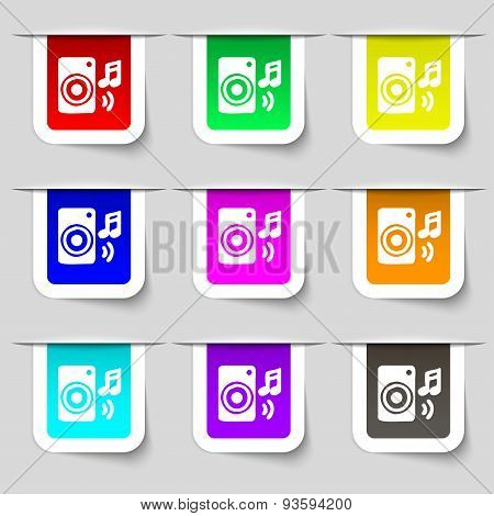 Music Column, Disco, Music, Melody, Speaker Icon Sign. Set Of Multicolored Modern Labels For Your De