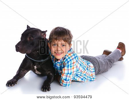 Boy with his Pit Bull Terrier
