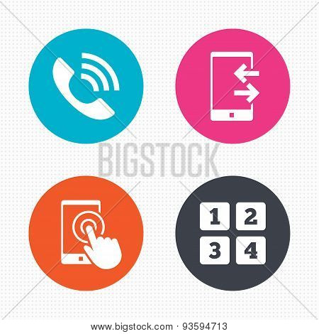 Phone icons. Call center support symbol.
