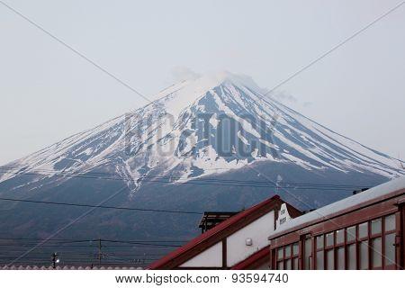 Kawaguchiko Railway Station And Mount Fuji.