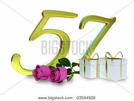 fifty-first birthday concept with pink roses - 57th