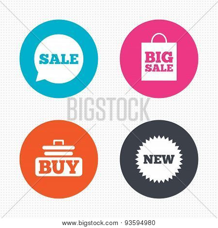 Sale speech bubble icon. Buy cart symbol
