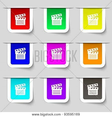 Cinema Clapper Icon Sign. Set Of Multicolored Modern Labels For Your Design. Vector