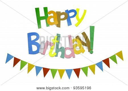 Colored Flags With Multicolor Text Birthday Greetings