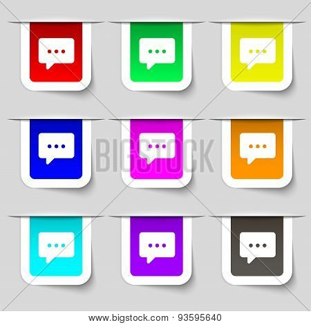 Cloud Of Thoughts Icon Sign. Set Of Multicolored Modern Labels For Your Design. Vector