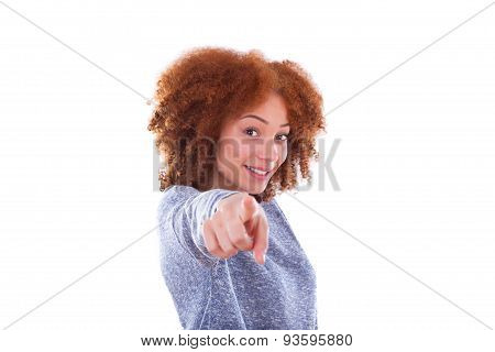 Young African American Teenage Girl Pointing Finger To The Screen, Isolated On White Background - Bl