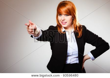 Business Woman Point Finger At You