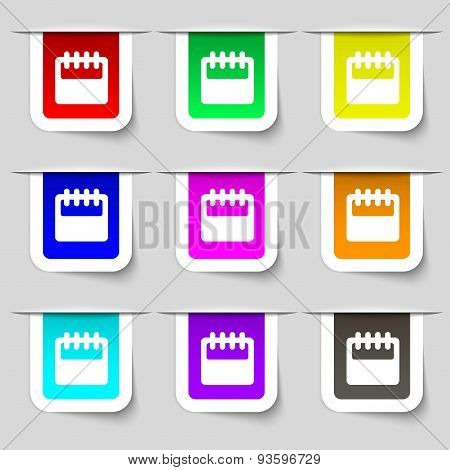 Notepad, Calendar Icon Sign. Set Of Multicolored Modern Labels For Your Design. Vector