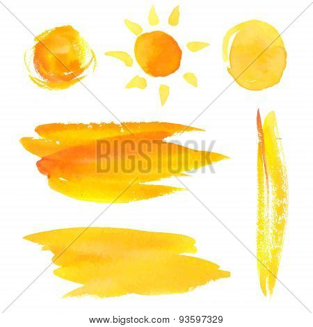 Set of paint brush strokes and splotches. Yellow watercolor backgrounds and sun.