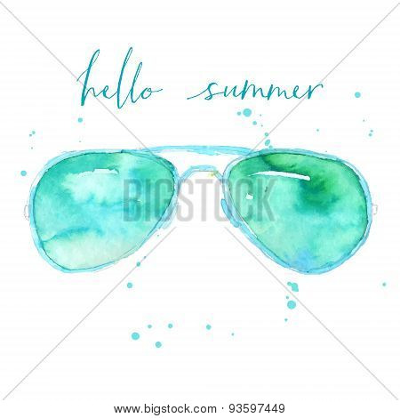 Fashion watercolor glasses illustration with text hello summer.