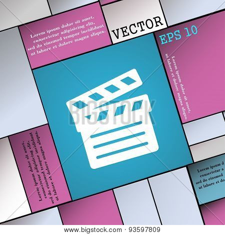 Cinema Clapper Icon Sign. Modern Flat Style For Your Design. Vector