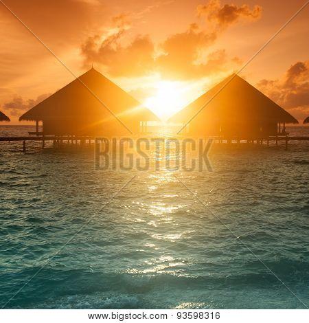 Sunset on Maldives island,