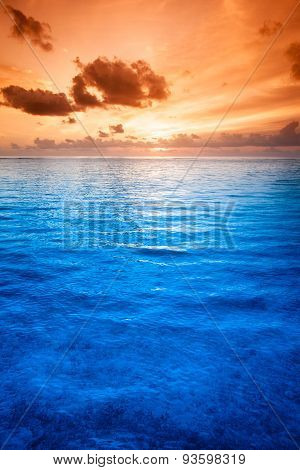 Tropical blue sea water in Maldives