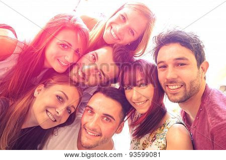 poster of Best Friends Taking Selfie Outdoors With Backlight Contrast - Happy People Friendship Concept