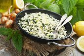 stock photo of nettle  - Risotto with nettles and lemon in the frying pan - JPG
