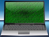 image of binary code  - laptop with binary code on glossy desktop - JPG