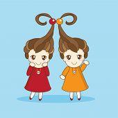 stock photo of little sister  - Two little sister girls in anime style - JPG