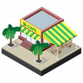 picture of canopy roof  - Isometric coffee shop with tables chairs and palm trees - JPG