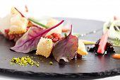 stock photo of tartar  - Tuna Tartare with Various Dip and Crispy - JPG