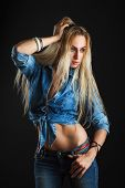 picture of denim jeans  - Beautiful woman body in denim jeans shorts and jacket - JPG