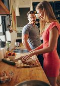 image of breakfast  - Caucasian couple together in the kitchen in morning - JPG