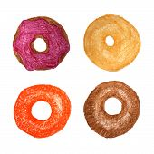 picture of donut  - Four donuts isolated on white - JPG
