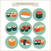 pic of food  - Flat Big Food Sushi Set Circle Icons - JPG