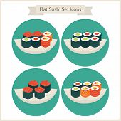 image of food  - Flat Food Sushi Set Circle Icons - JPG