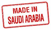 picture of saudi arabia  - made in Saudi Arabia red square isolated stamp - JPG