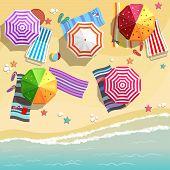 stock photo of starfish  - Aerial view of summer beach in flat design style - JPG