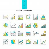 image of line graph  - Set of vector line color icons of charts and graphs - JPG