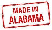 stock photo of alabama  - made in Alabama red square isolated stamp - JPG