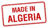 picture of algeria  - made in Algeria red square isolated stamp - JPG