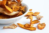 pic of parsnips  - Bowl of fried carrot and parsnip chips - JPG