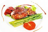 foto of white asparagus  - beef meat served on white plate with asparagus - JPG