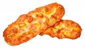 pic of baguette  - Fresh ham and pineapple baguette pizza isolated on a white background - JPG