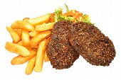 pic of beef-burger  - Beef grill steak burgers with golden fried chips and salad isolated on a white background - JPG