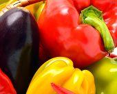 stock photo of aubergines  - Sweet pepper aubergine chili pepper in the basket isolated on white - JPG