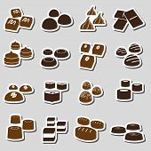 picture of truffle  - sweet chocolate truffles styles stickers set eps10 - JPG