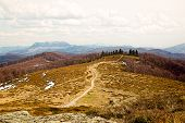 stock photo of divergent  - Winding gray pebble trails diverging on the top of the mountain - JPG