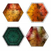 stock photo of dodecahedron  - set of gemstone vector pattern with cubes and pyramids - JPG