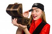 foto of pirate girl  - Pirate girl holding chest box isolated on white - JPG